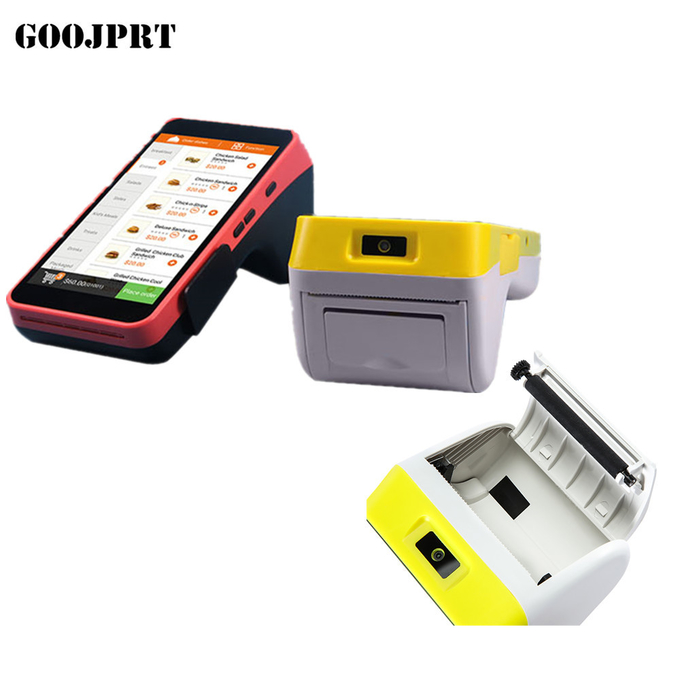 Handheld Portable Pos Terminal barcode scanner Restaurant thermal printer wireless bluetooth wifi Android5.1 PD