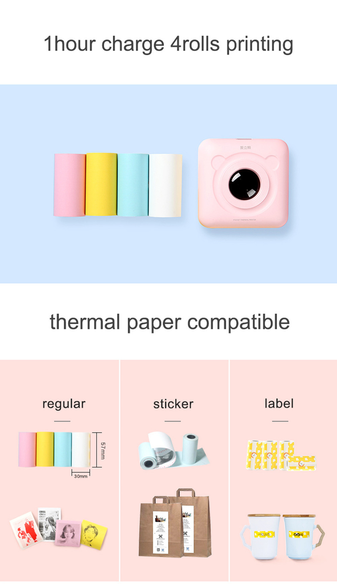 Mini Portable Bluetooth 4.0 Printer Photo Thermal Printer Phone Wireless Connection Printer 1200mAh Battery